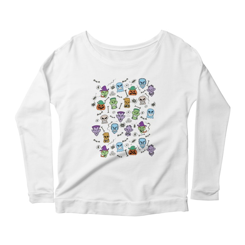 Halloween characters making funny faces in a cool pattern design Women's Longsleeve T-Shirt by Zoo&co's Artist Shop
