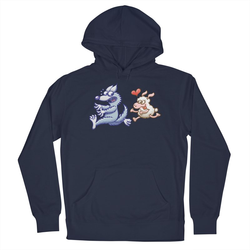 Terrified wolf running away from a bold ewe in love Men's Pullover Hoody by Zoo&co's Artist Shop