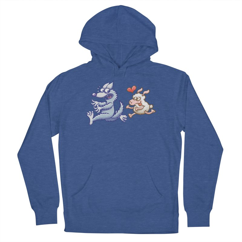 Terrified wolf running away from a bold ewe in love Women's Pullover Hoody by Zoo&co's Artist Shop