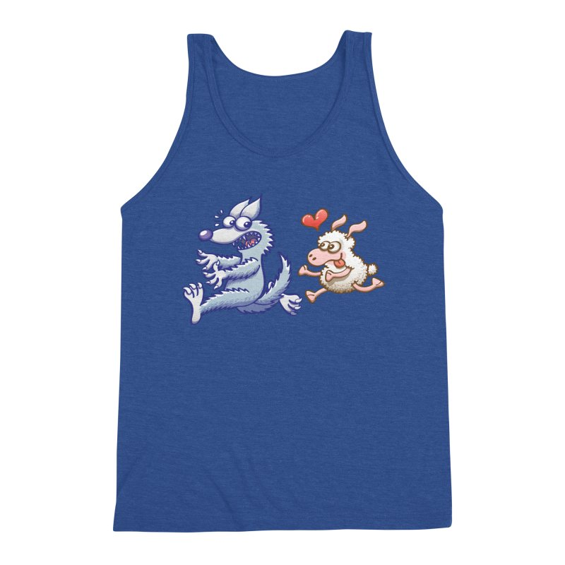 Terrified wolf running away from a bold ewe in love Men's Tank by Zoo&co's Artist Shop