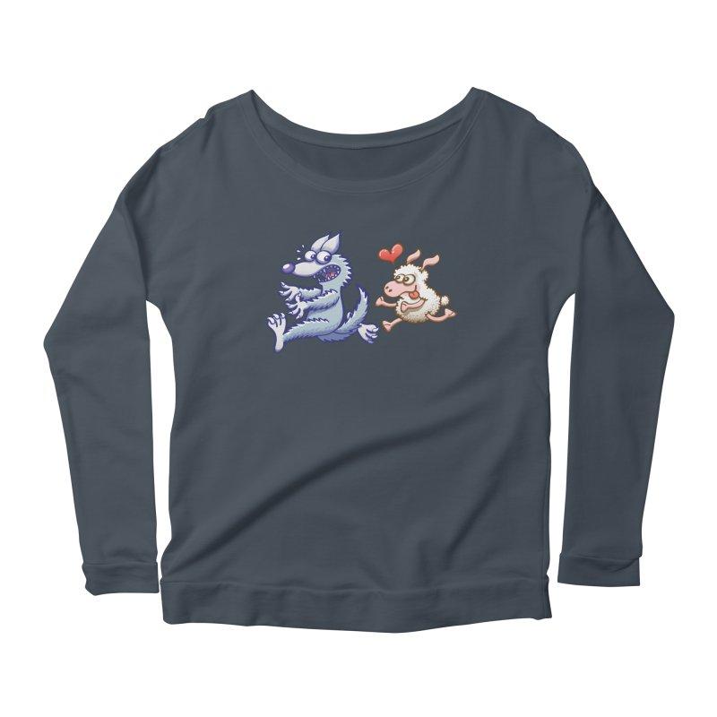 Terrified wolf running away from a bold ewe in love Women's Longsleeve T-Shirt by Zoo&co's Artist Shop