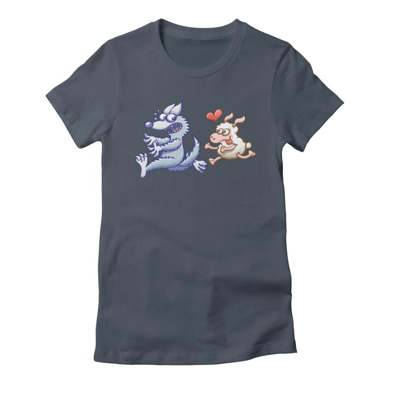 Terrified wolf running away from a bold ewe in love Women's T-Shirt by Zoo&co's Artist Shop