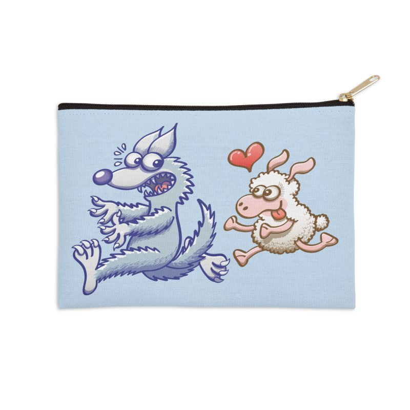 Terrified wolf running away from a bold ewe in love Accessories Zip Pouch by Zoo&co's Artist Shop