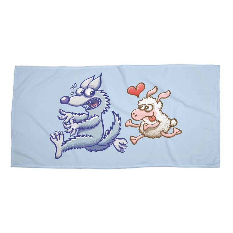 Terrified wolf running away from a bold ewe in love Accessories Beach Towel by Zoo&co's Artist Shop