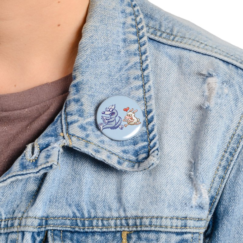 Terrified wolf running away from a bold ewe in love Accessories Button by Zoo&co's Artist Shop