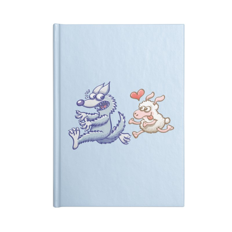 Terrified wolf running away from a bold ewe in love Accessories Notebook by Zoo&co's Artist Shop