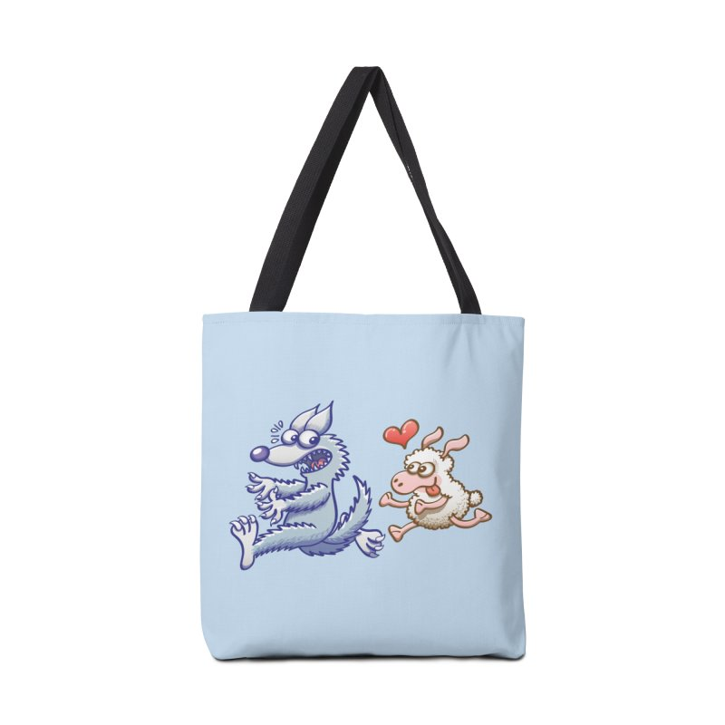 Terrified wolf running away from a bold ewe in love Accessories Bag by Zoo&co's Artist Shop