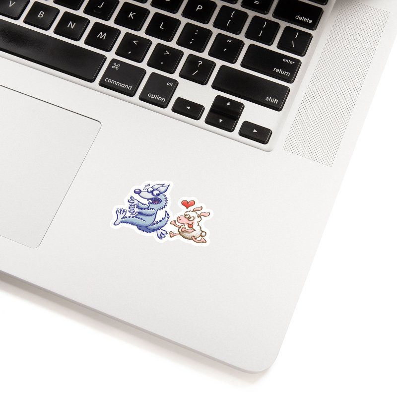 Terrified wolf running away from a bold ewe in love Accessories Sticker by Zoo&co's Artist Shop