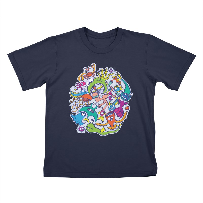 Strengthen friendship bond with dangerous sea creatures Kids T-Shirt by Zoo&co's Artist Shop