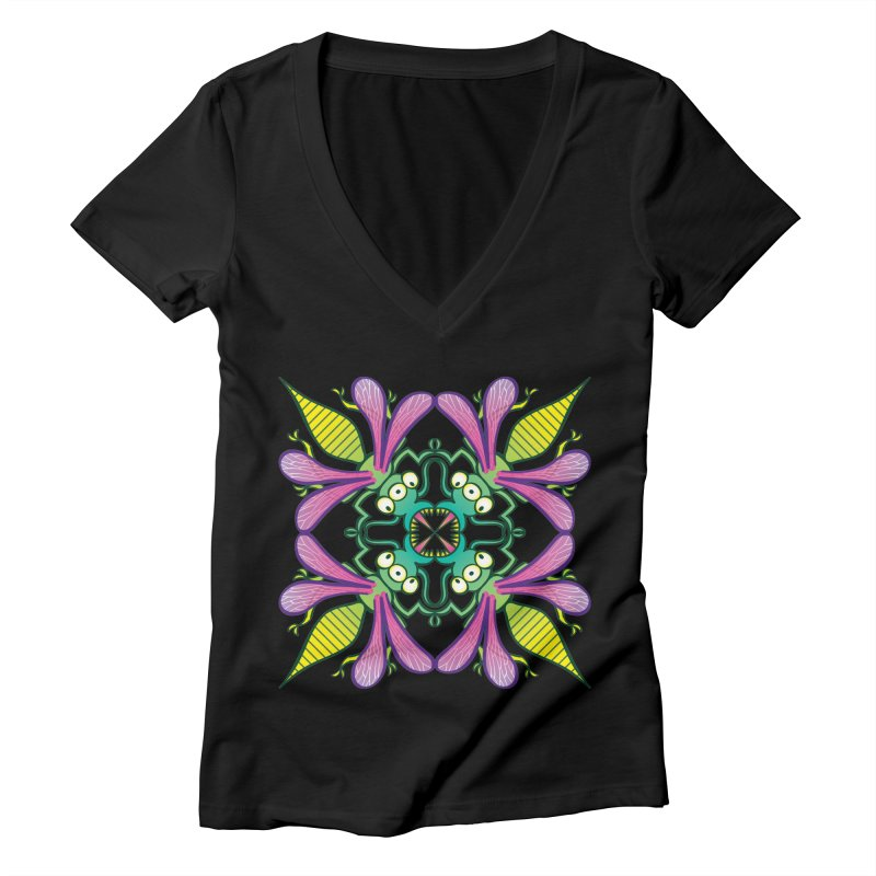 Luminescent insects having a meeting in the middle of the night Women's V-Neck by Zoo&co's Artist Shop