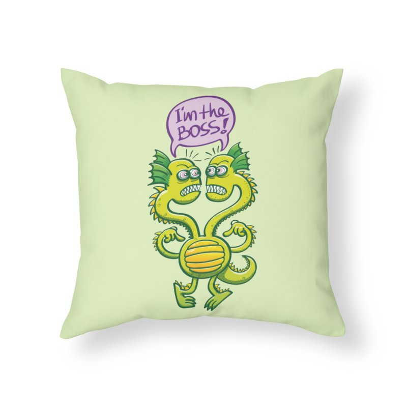 Two-headed monster struggling to define who the boss is Home Throw Pillow by Zoo&co's Artist Shop