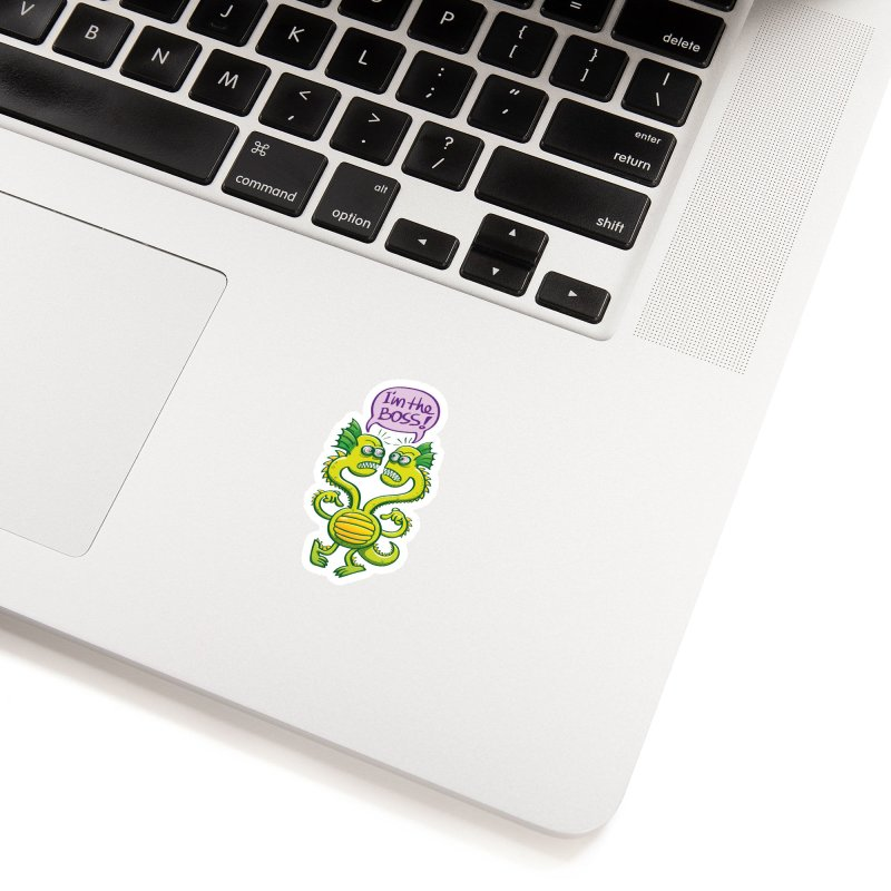 Two-headed monster struggling to define who the boss is Accessories Sticker by Zoo&co's Artist Shop