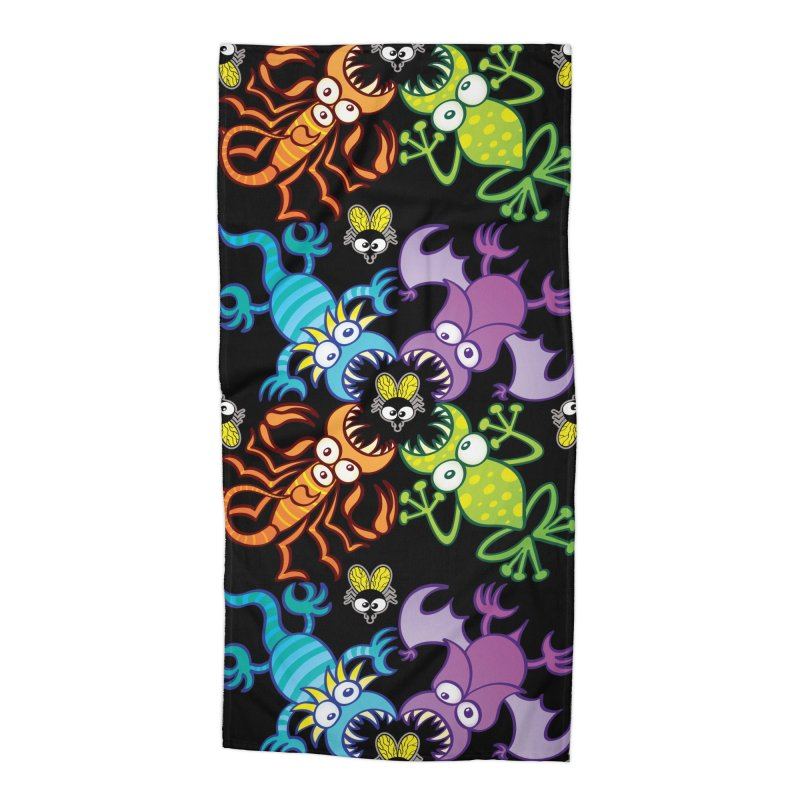 Bat, lizard, scorpion and frog attacking a defenseless fly Accessories Beach Towel by Zoo&co's Artist Shop