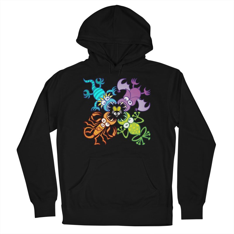 Bat, lizard, scorpion and frog attacking a defenseless fly Men's Pullover Hoody by Zoo&co's Artist Shop