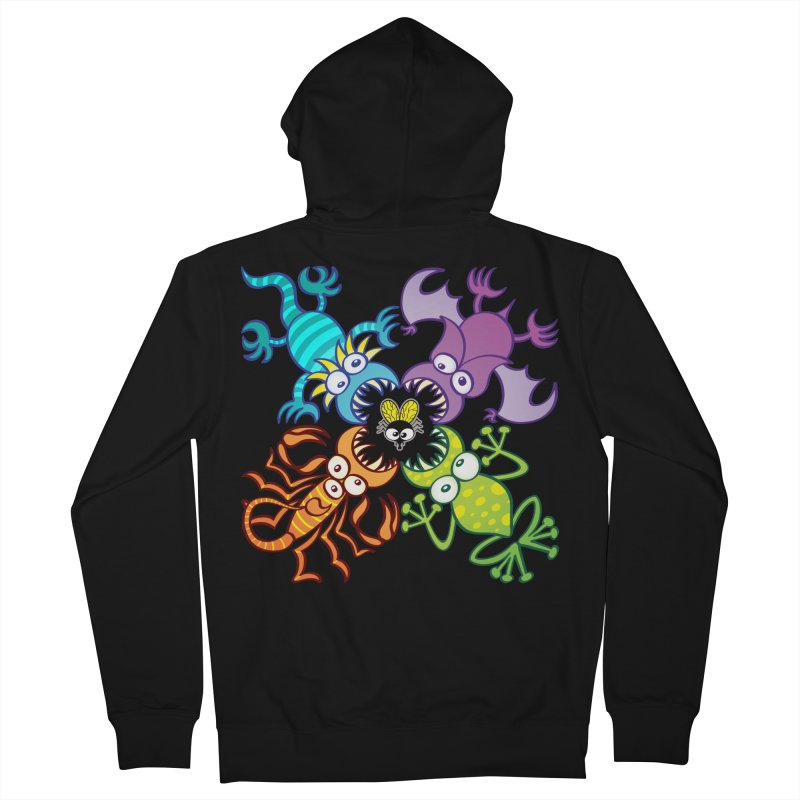 Bat, lizard, scorpion and frog attacking a defenseless fly Women's Zip-Up Hoody by Zoo&co's Artist Shop