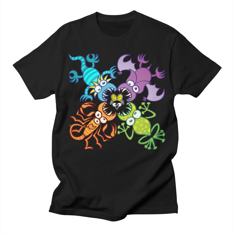 Bat, lizard, scorpion and frog attacking a defenseless fly Men's T-Shirt by Zoo&co's Artist Shop