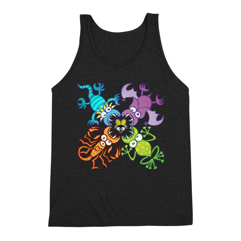 Bat, lizard, scorpion and frog attacking a defenseless fly Men's Tank by Zoo&co's Artist Shop