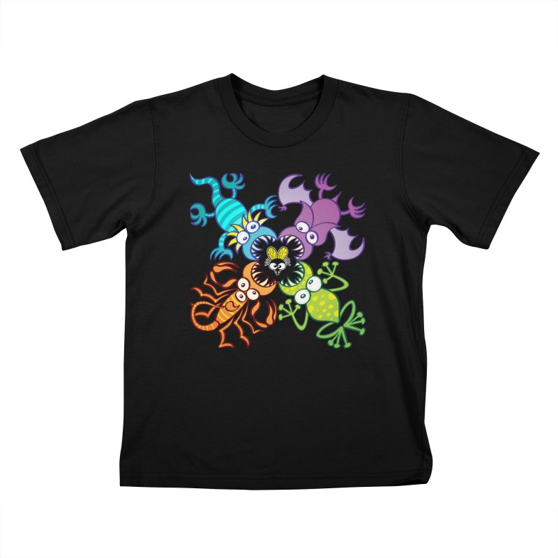 Bat, lizard, scorpion and frog attacking a defenseless fly Kids T-Shirt by Zoo&co's Artist Shop