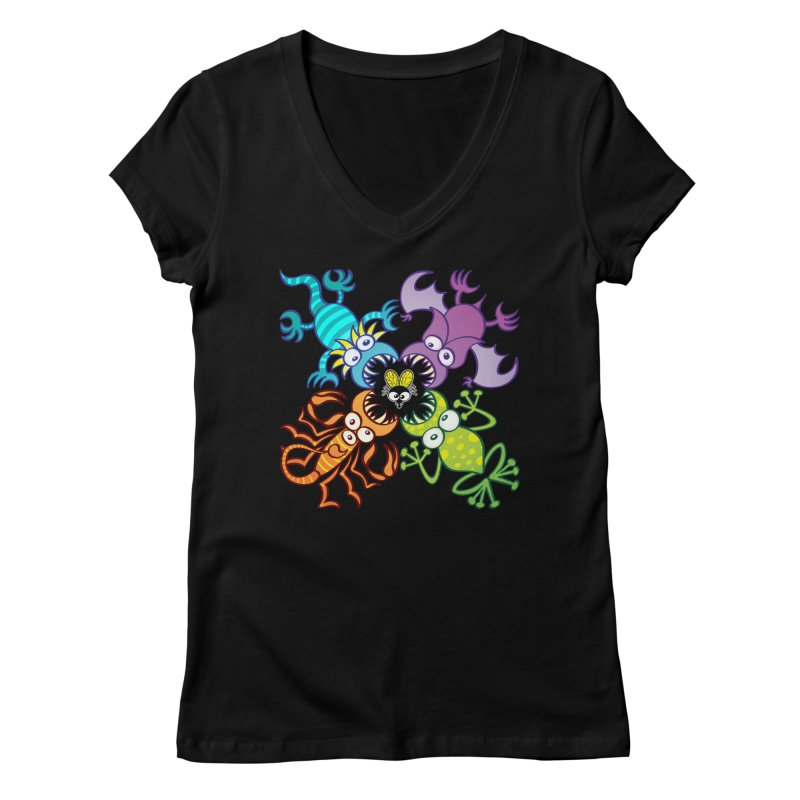 Bat, lizard, scorpion and frog attacking a defenseless fly Women's V-Neck by Zoo&co's Artist Shop