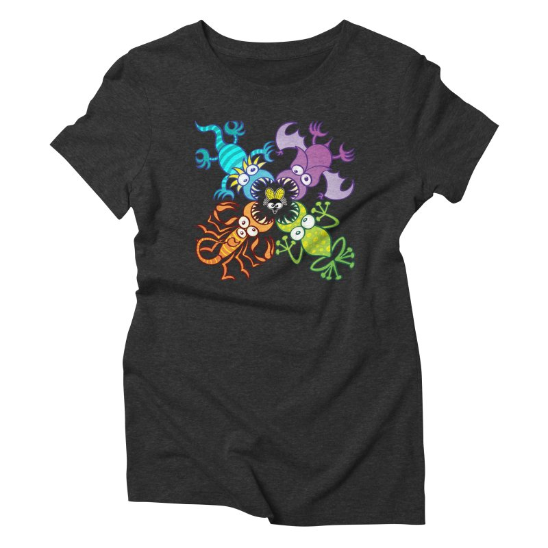 Bat, lizard, scorpion and frog attacking a defenseless fly Women's T-Shirt by Zoo&co's Artist Shop