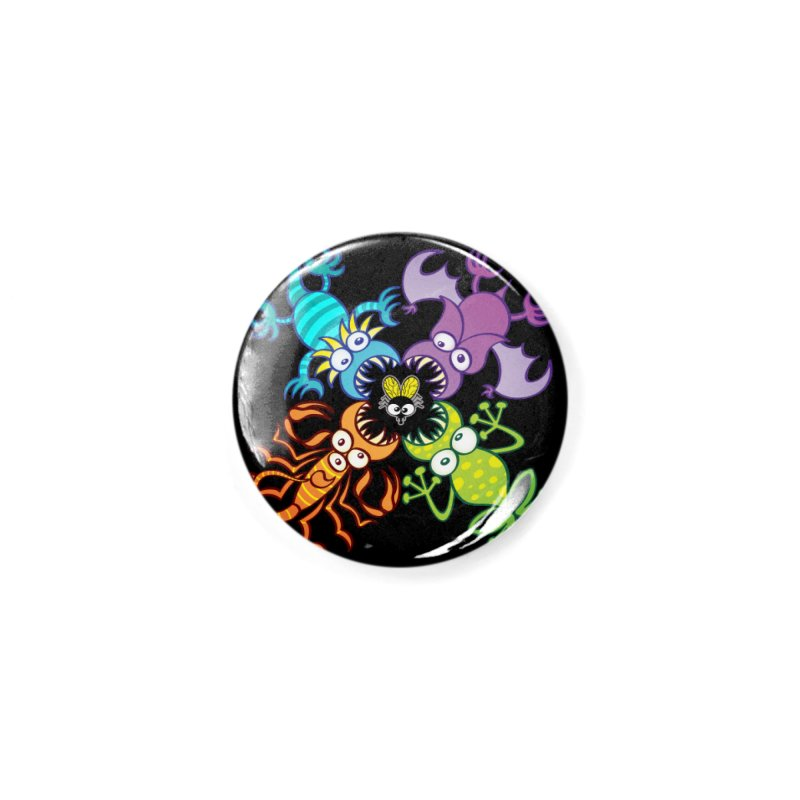 Bat, lizard, scorpion and frog attacking a defenseless fly Accessories Button by Zoo&co's Artist Shop