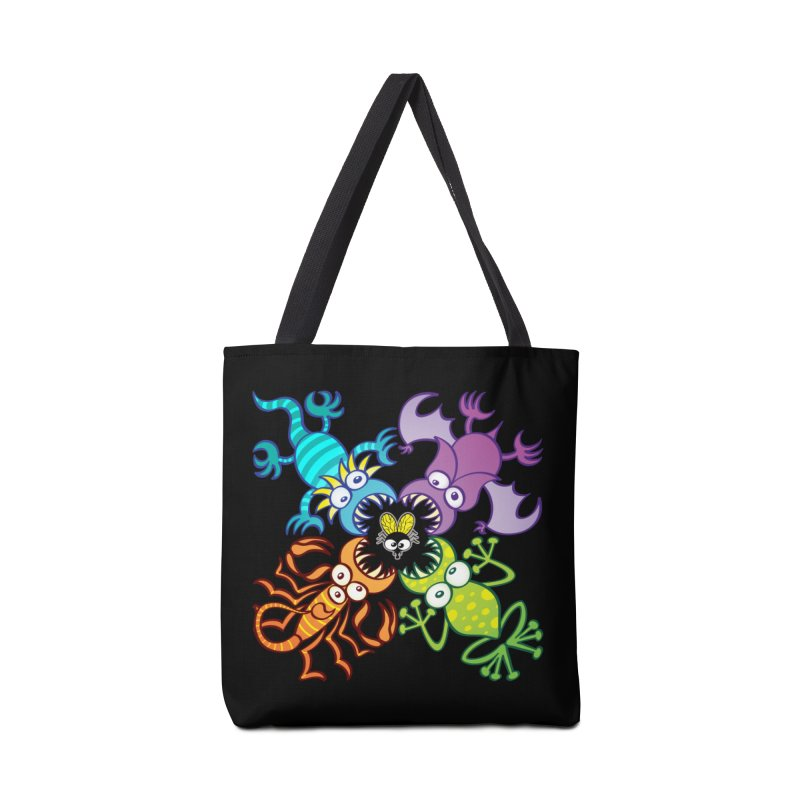 Bat, lizard, scorpion and frog attacking a defenseless fly Accessories Bag by Zoo&co's Artist Shop