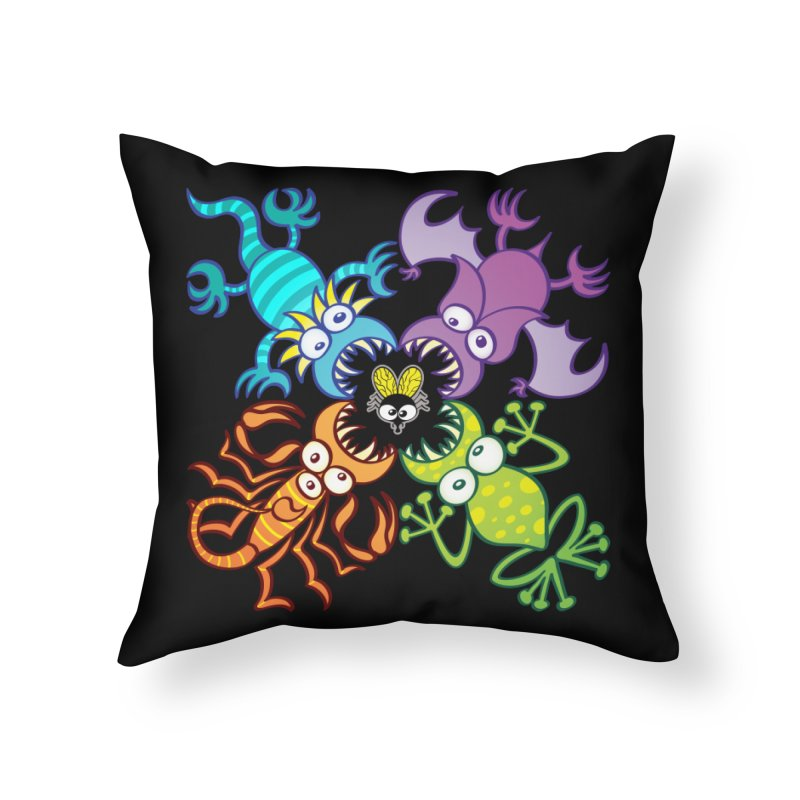 Bat, lizard, scorpion and frog attacking a defenseless fly Home Throw Pillow by Zoo&co's Artist Shop