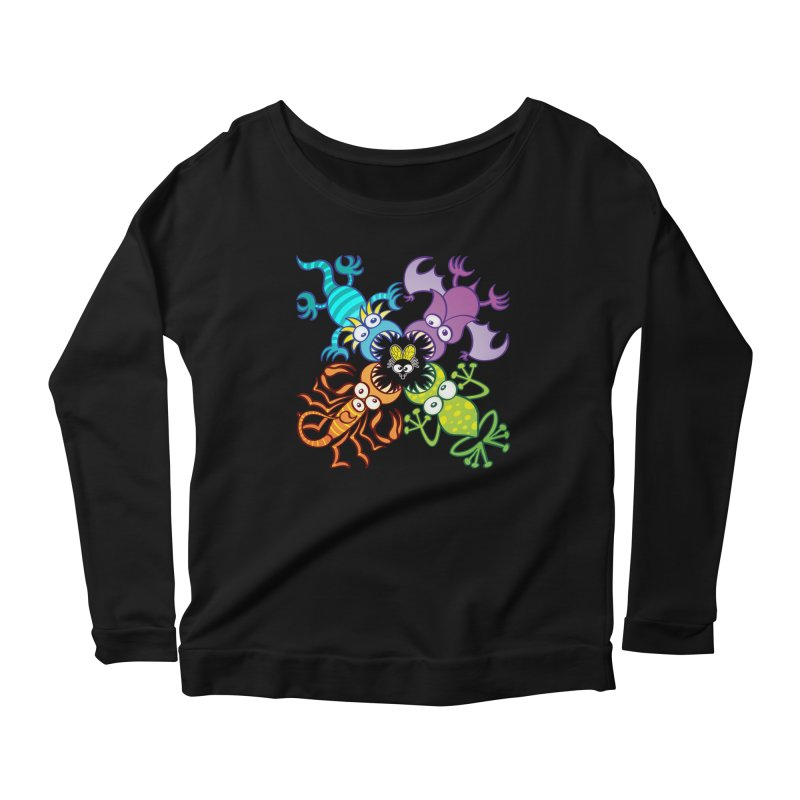 Bat, lizard, scorpion and frog attacking a defenseless fly Women's Longsleeve T-Shirt by Zoo&co's Artist Shop