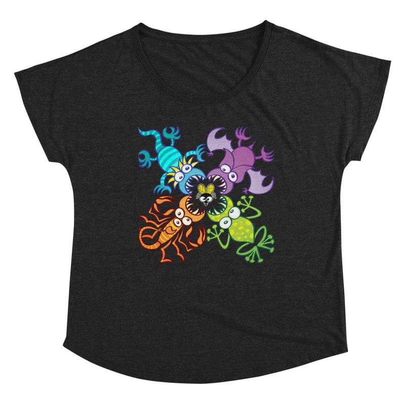 Bat, lizard, scorpion and frog attacking a defenseless fly Women's Scoop Neck by Zoo&co's Artist Shop