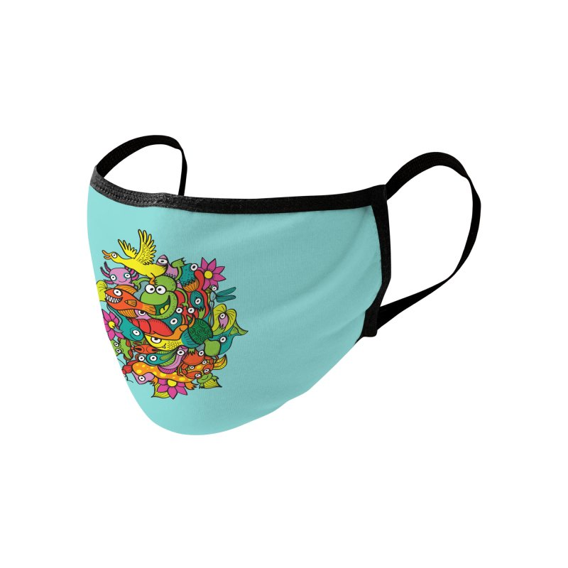 A funny crowd of colorful creatures living a symbiotic life in a fantasy pond Accessories Face Mask by Zoo&co's Artist Shop