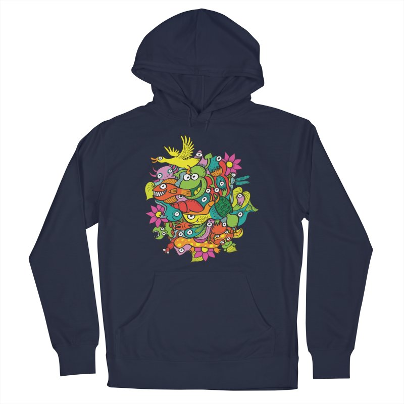 A funny crowd of colorful creatures living a symbiotic life in a fantasy pond Men's Pullover Hoody by Zoo&co's Artist Shop