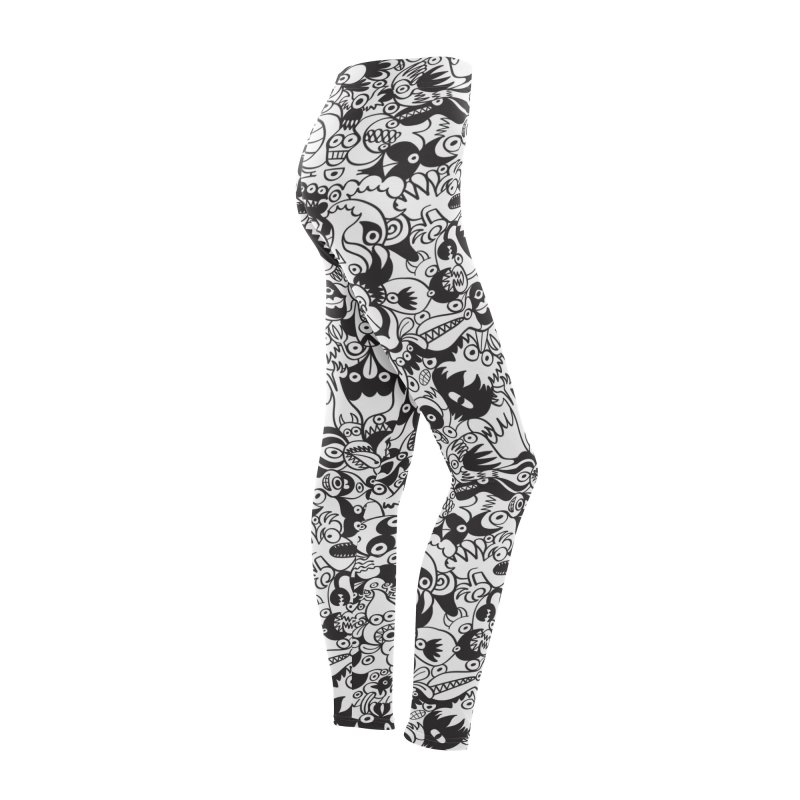 Black and white scary monsters in doodle art style Women's Bottoms by Zoo&co's Artist Shop