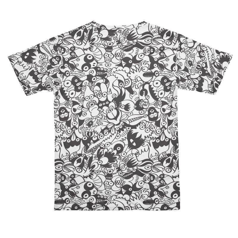 Black and white scary monsters in doodle art style Women's Cut & Sew by Zoo&co's Artist Shop