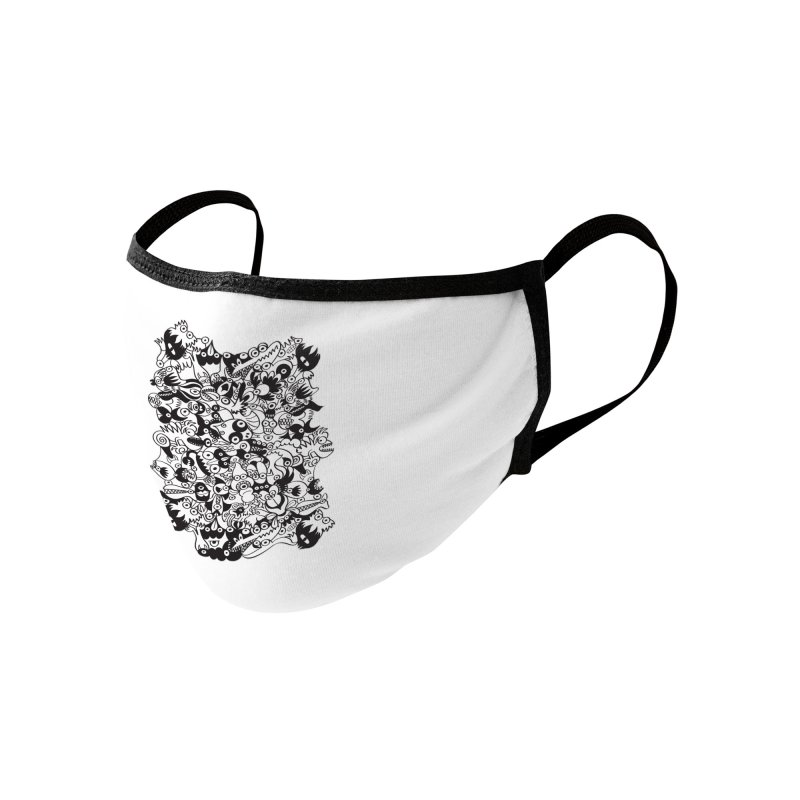 Black and white scary monsters in doodle art style Accessories Face Mask by Zoo&co's Artist Shop