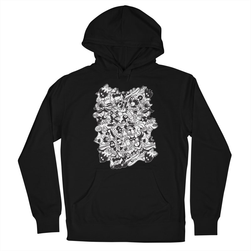Black and white scary monsters in doodle art style Men's Pullover Hoody by Zoo&co's Artist Shop