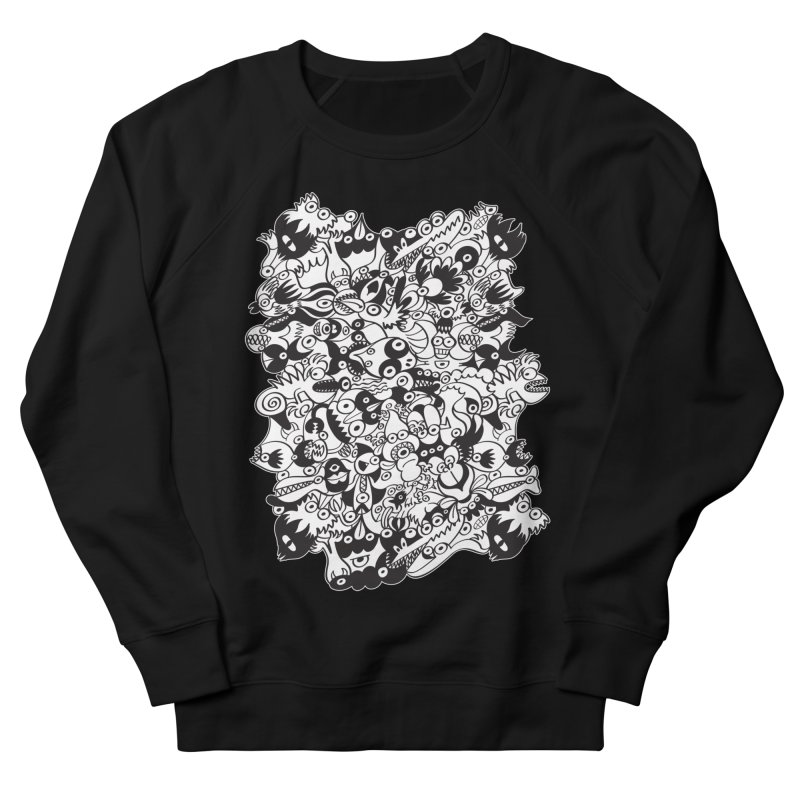 Black and white scary monsters in doodle art style Women's Sweatshirt by Zoo&co's Artist Shop
