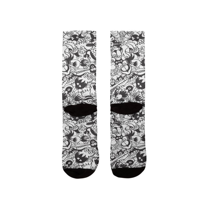 Black and white scary monsters in doodle art style Men's Socks by Zoo&co's Artist Shop