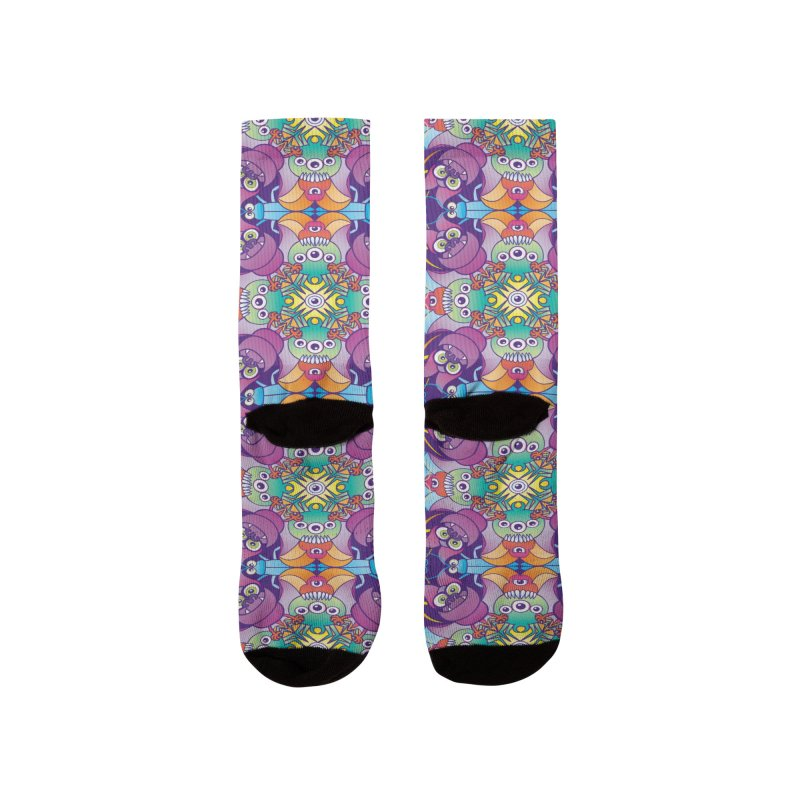 Spooky animals forming a colorful Halloween pattern Men's Socks by Zoo&co's Artist Shop