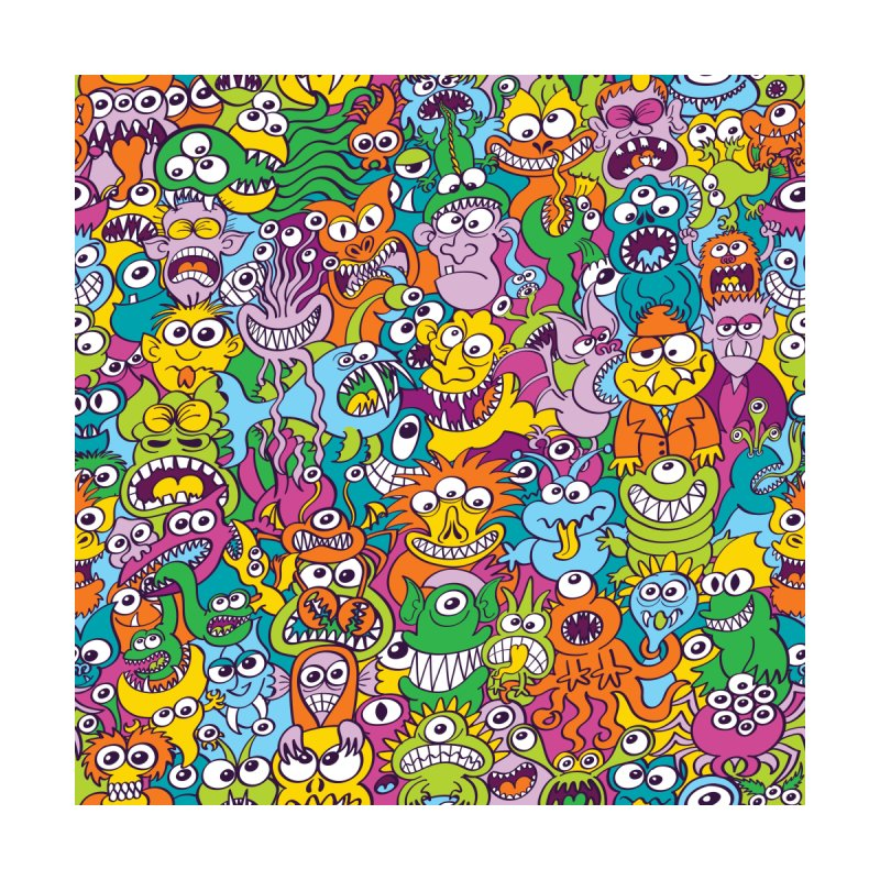 Funny crowd of colorful monsters, aliens and Halloween characters Men's Cut & Sew by Zoo&co's Artist Shop