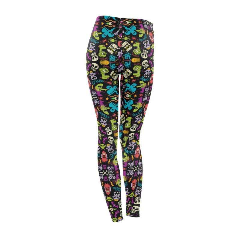 Spooky Halloween characters and symbols celebrating in a colorful pattern design Women's Bottoms by Zoo&co's Artist Shop