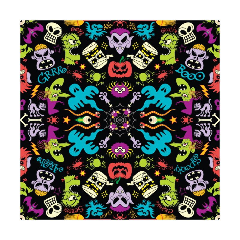 Spooky Halloween characters and symbols celebrating in a colorful pattern design Men's T-Shirt by Zoo&co's Artist Shop