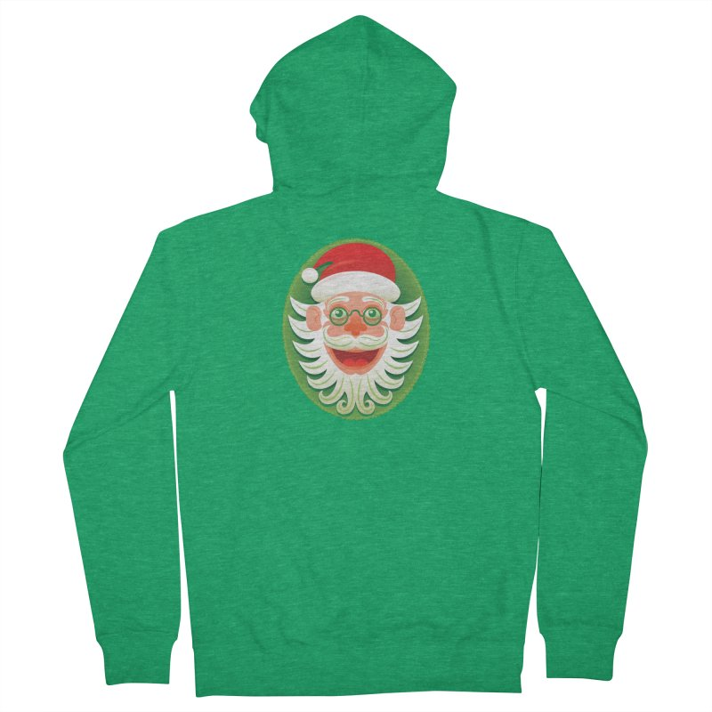 Smiling Santa Claus celebrating Christmas in Hipster style Women's Zip-Up Hoody by Zoo&co's Artist Shop