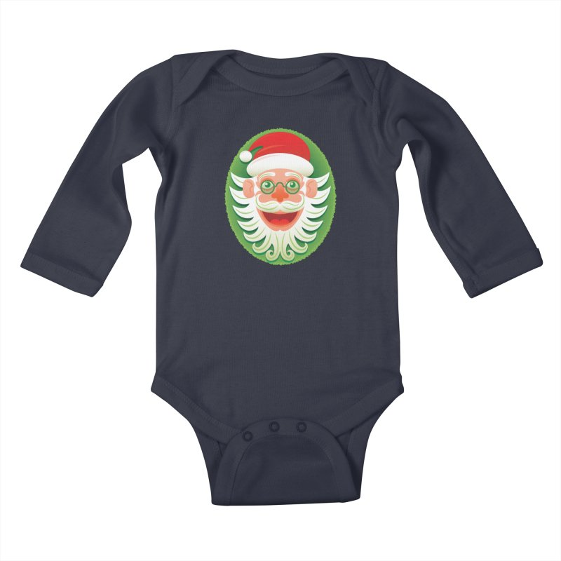 Smiling Santa Claus celebrating Christmas in Hipster style Kids Baby Longsleeve Bodysuit by Zoo&co's Artist Shop