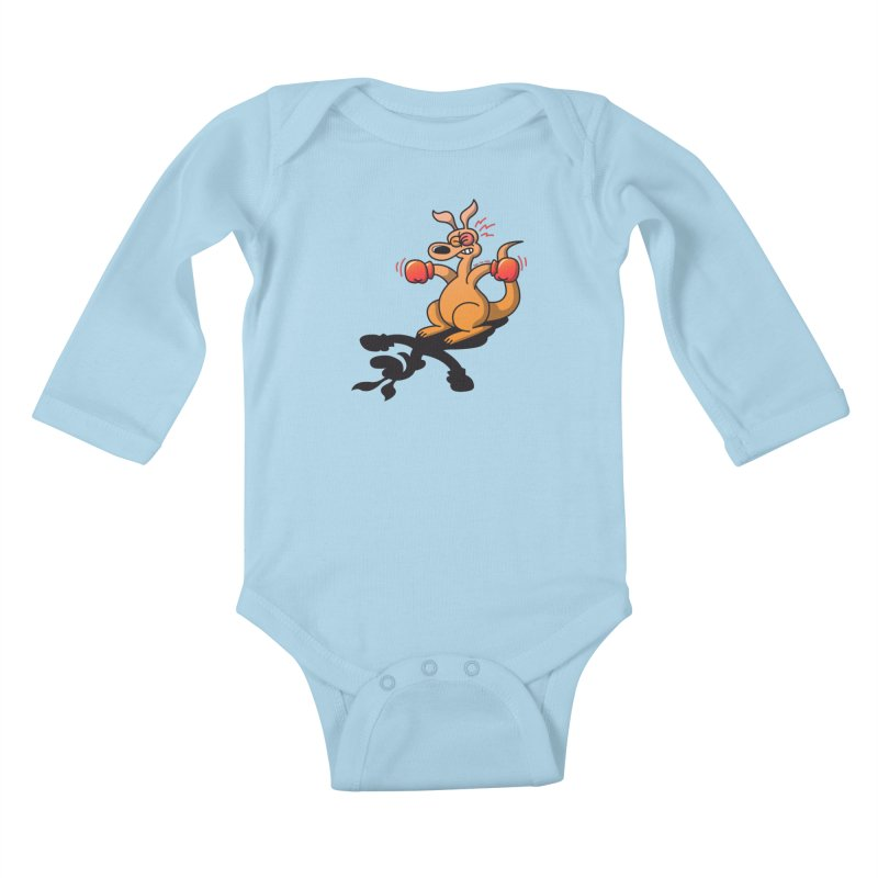 Boxing Kangaroo attacked by his own shadow! Kids Baby Longsleeve Bodysuit by Zoo&co's Artist Shop
