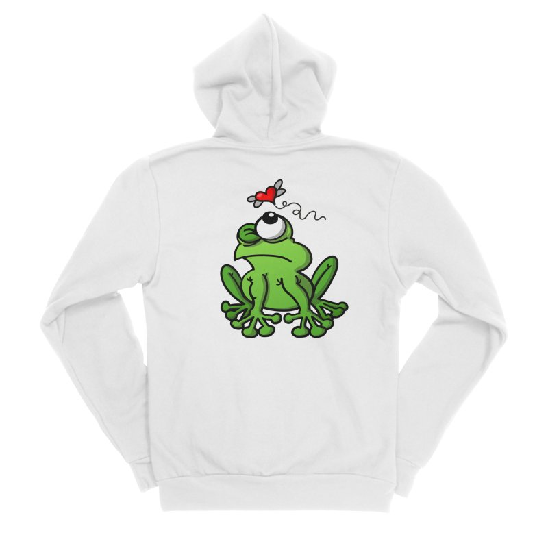 Green frog chasing the mosquito of love Men's Zip-Up Hoody by Zoo&co's Artist Shop