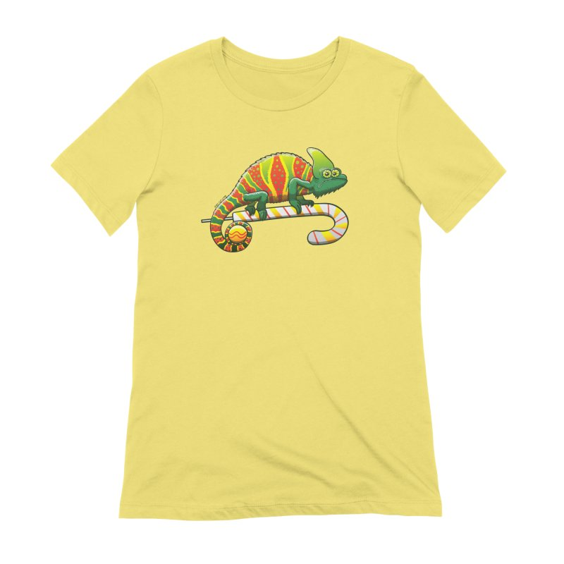 Shy chameleon wearing the perfect camouflage for Christmas Women's T-Shirt by Zoo&co's Artist Shop