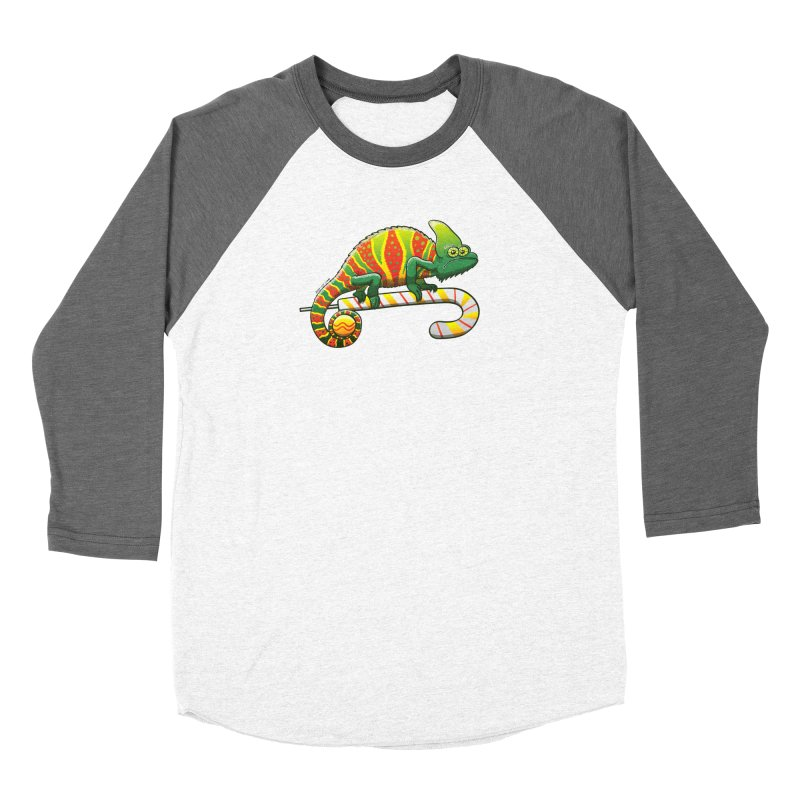 Shy chameleon wearing the perfect camouflage for Christmas Women's Longsleeve T-Shirt by Zoo&co's Artist Shop