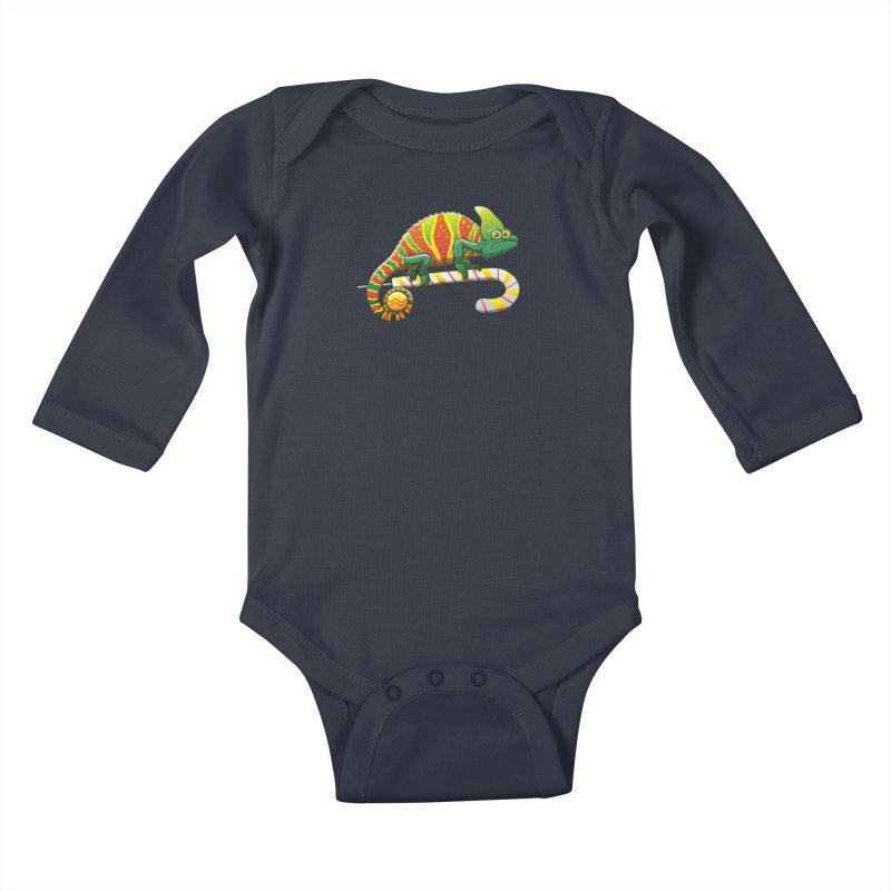 Shy chameleon wearing the perfect camouflage for Christmas Kids Baby Longsleeve Bodysuit by Zoo&co's Artist Shop