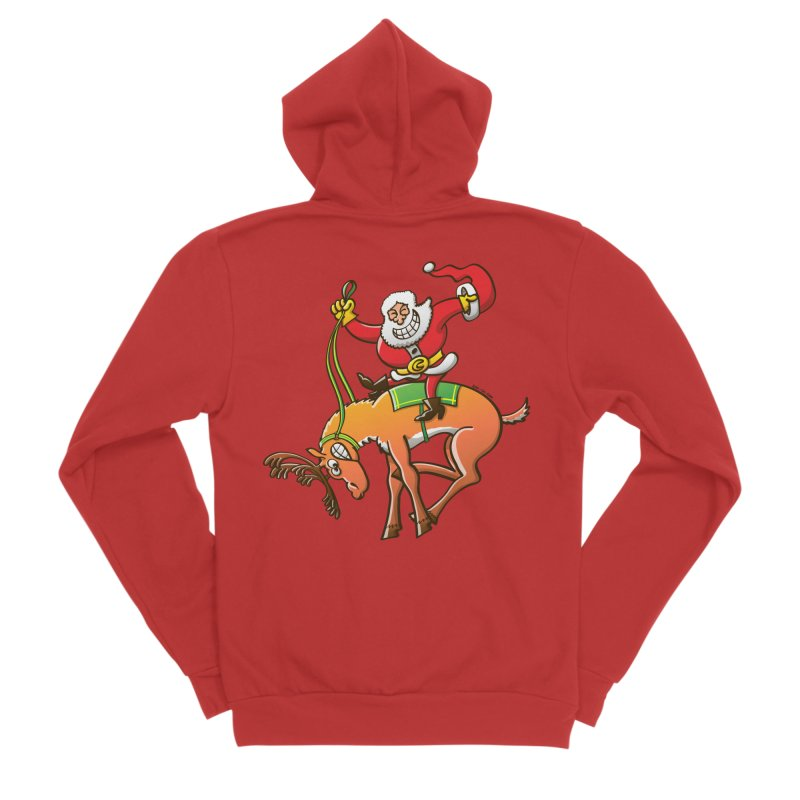Santa is making this wild reindeer get ready for Christmas Men's Zip-Up Hoody by Zoo&co's Artist Shop