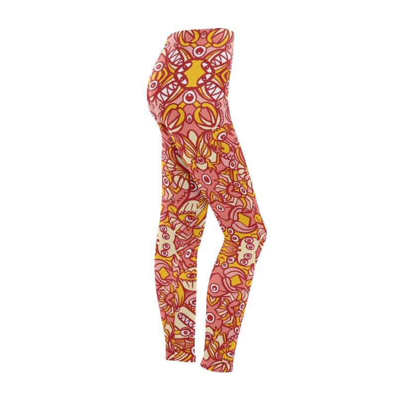 Red and yellow pattern design full of weird fantastic creatures Women's Bottoms by Zoo&co's Artist Shop